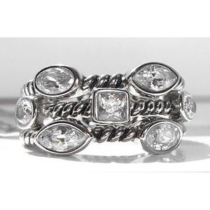 STAINLESS STEEL AAA CZ Stackable Rings-Sizes 5-10